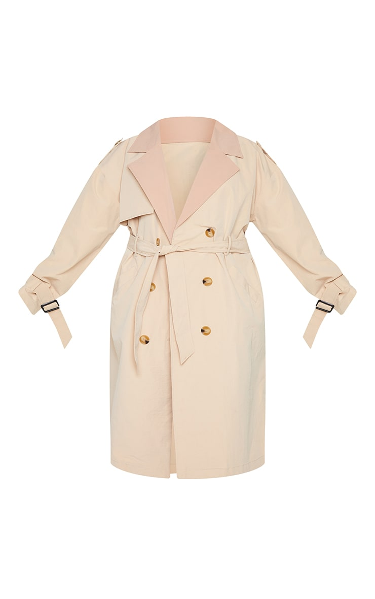 Plus Stone Contrast Lapel Tortoise Shell Button Trench 5