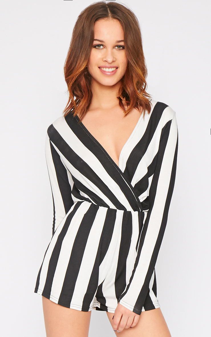 Indra Monochrome Striped Wrap Over Playsuit  1