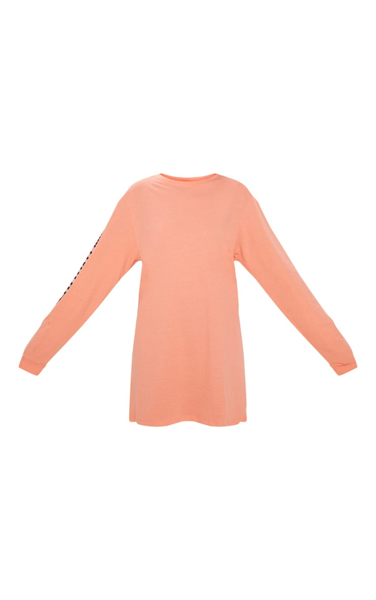 PRETTYLITTLETHING Pale Coral Oversized Long Sleeve T Shirt Dress 3