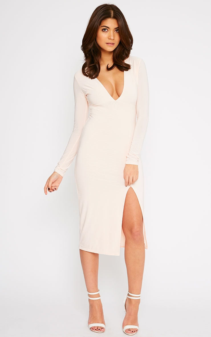 Christa Nude Slinky Plunge Split Front Midi Dress 1