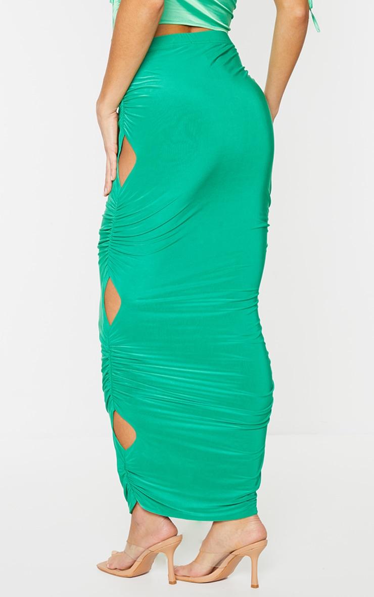 Green Slinky Cut Out Maxi Skirt 3