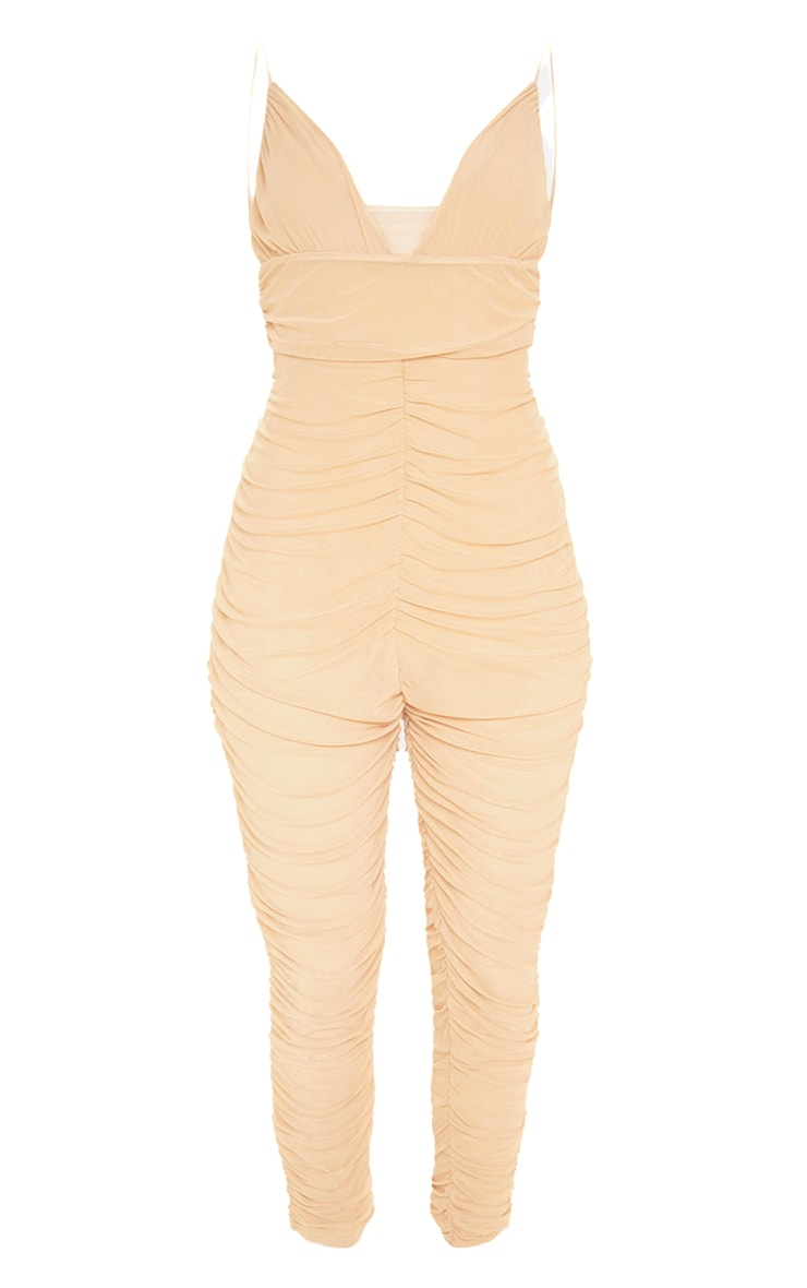 Plus Nude Second Skin Ruched Mesh Jumpsuit 3