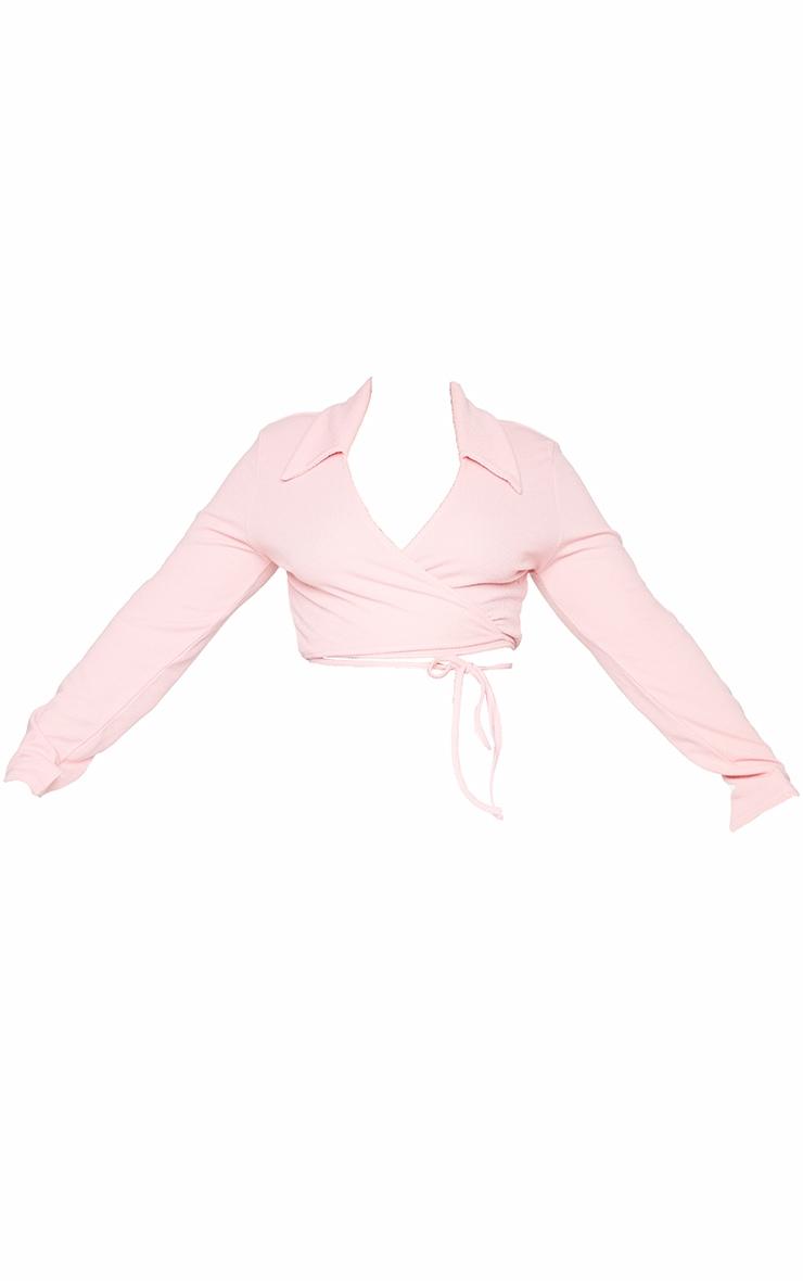Plus Pink Rib Textured Wrap Polo Top 5