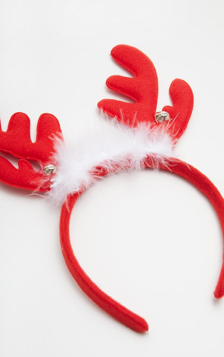 Red Reindeer Antlers Headband 3