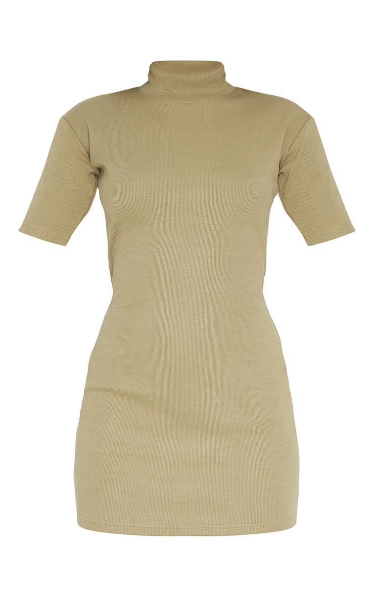 Khaki Rib High Neck Short Sleeve T Shirt Dress 5