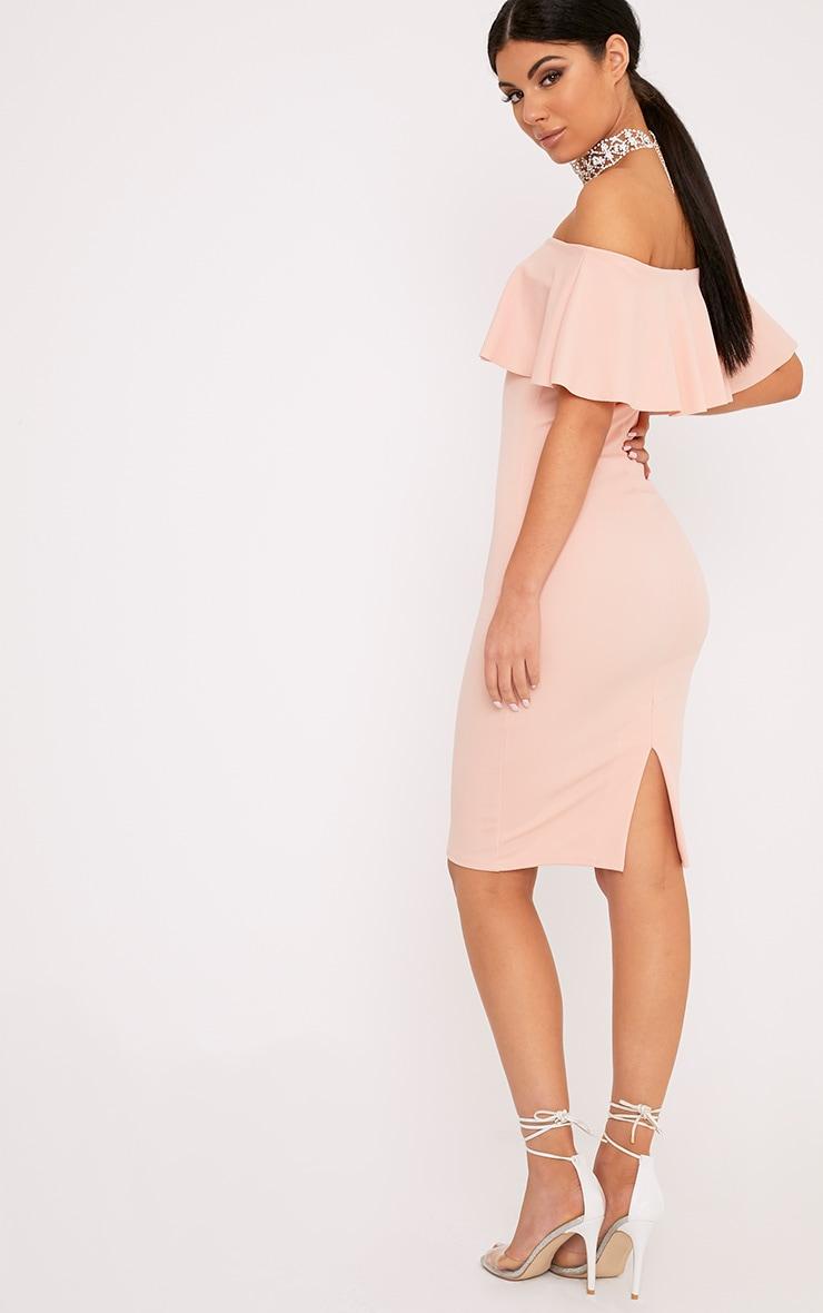 Celinea Blush Bardot Frill Midi Dress 2