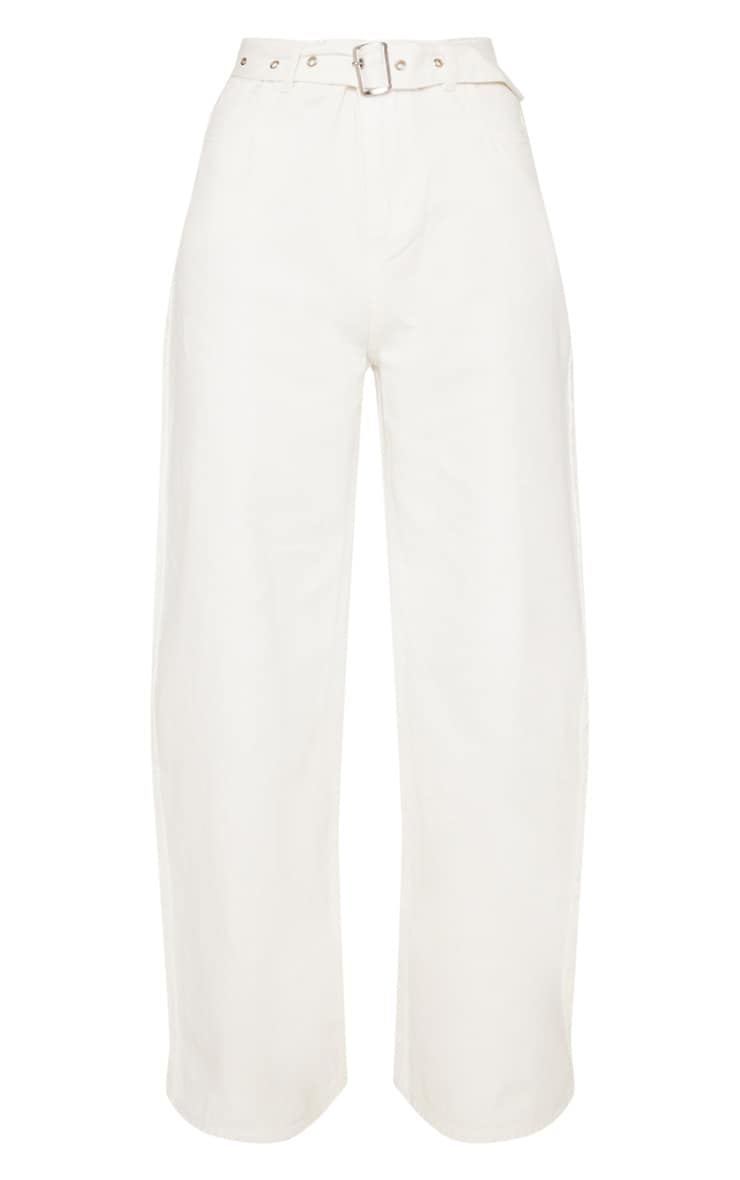 Ecru Belted Wide Leg Jeans  3