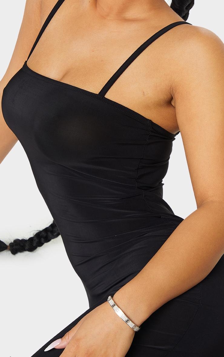 Petite Black Square Neck Strappy Slinky Midaxi Dress 5