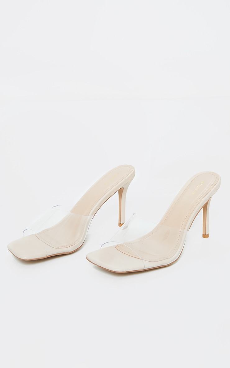 Nude Clear Strap Square Toe Mule Mid Heels 3