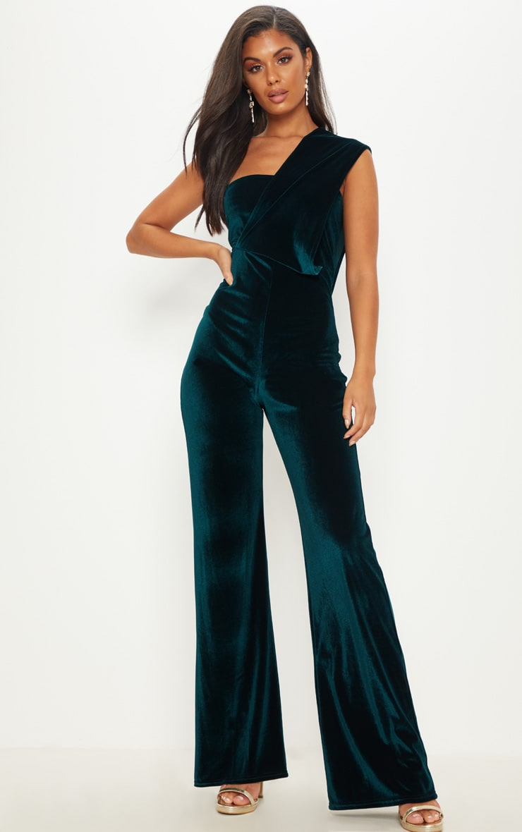 Emerald Green Velvet Drape One Shoulder Jumpsuit 1