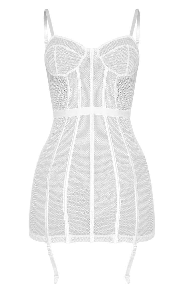 White Fishnet Mesh Lingerie Slip Dress 3