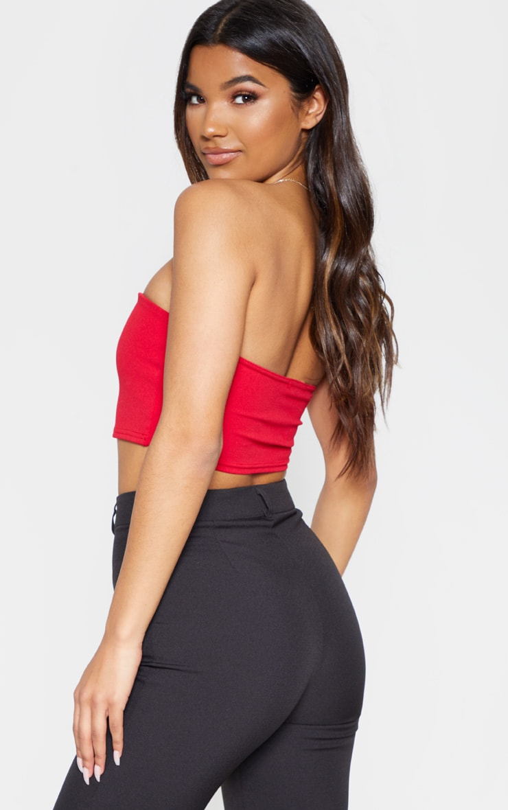 Red Bandeau V Bar Crop Top 2