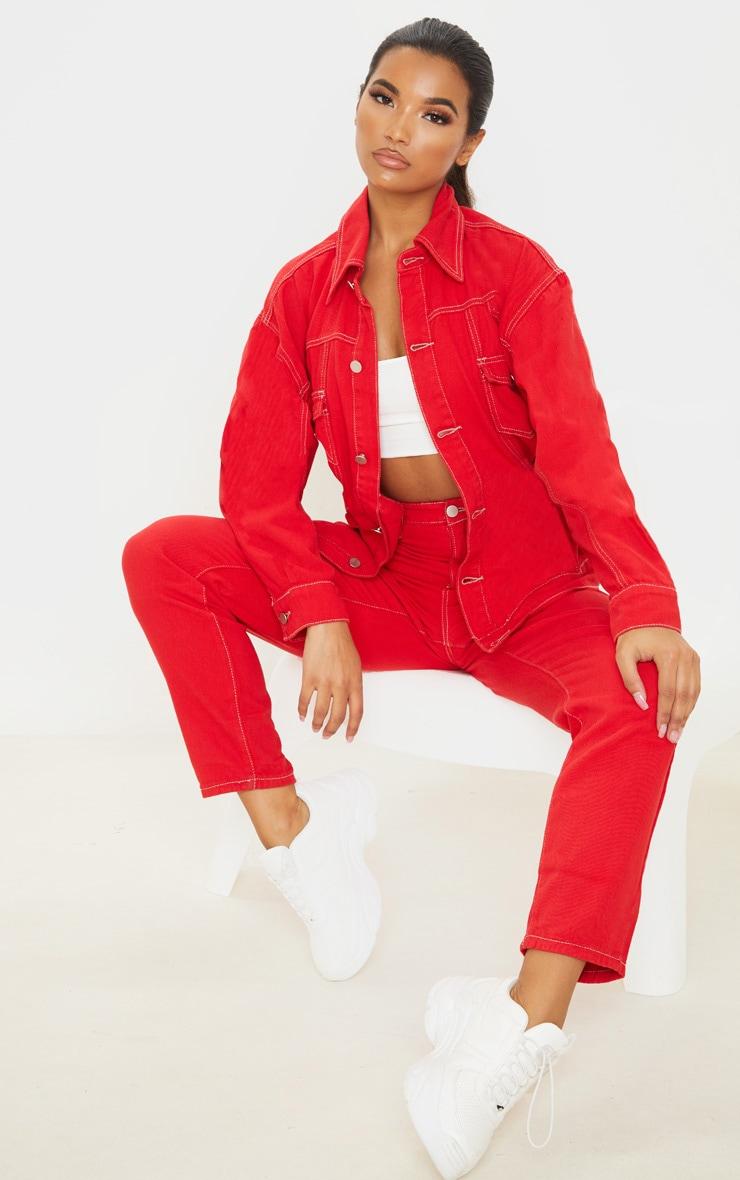 Red Tie Waist Oversized Denim Jacket 4