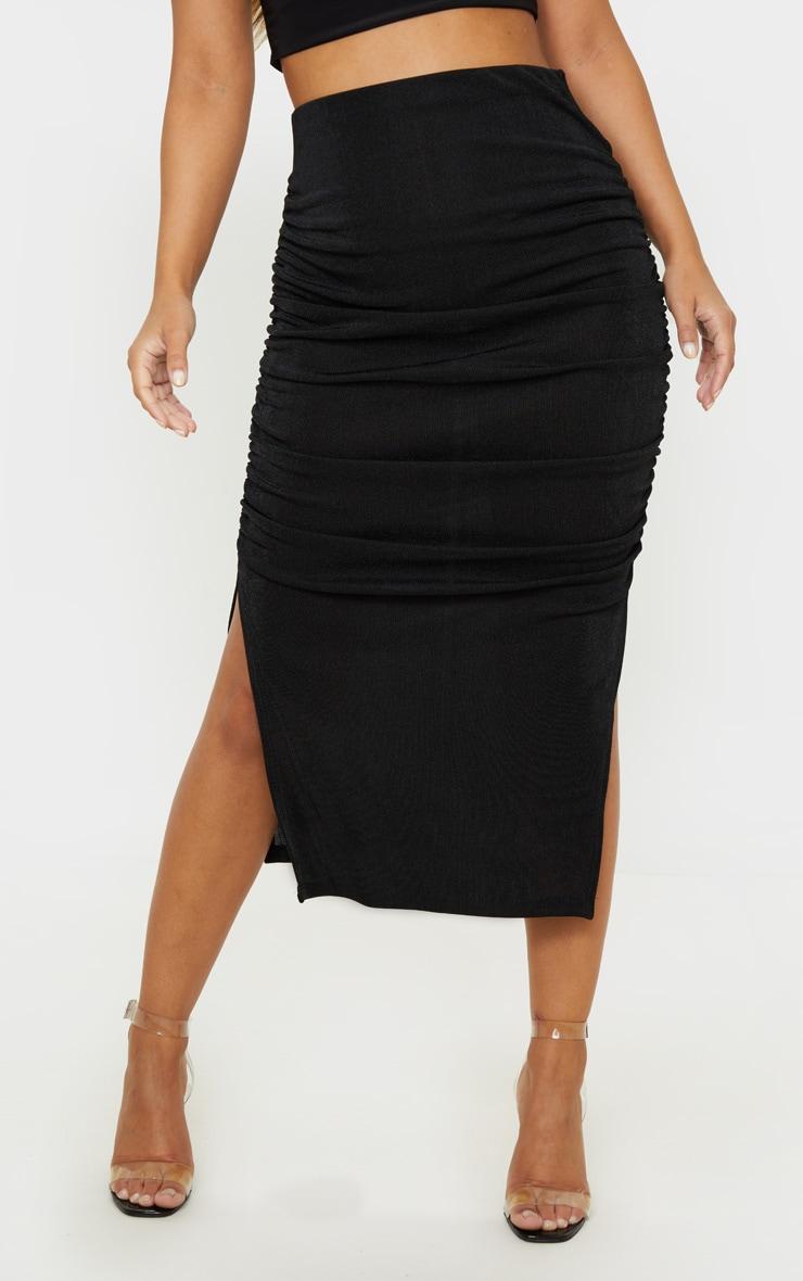 Petite Black Ruched Double Split Midi Skirt 2
