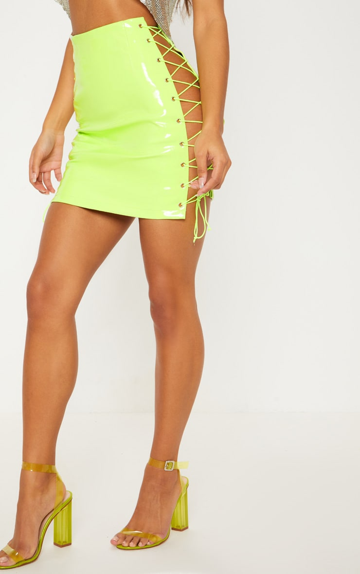Neon Lime Vinyl Lace Up Side Mini Skirt 2