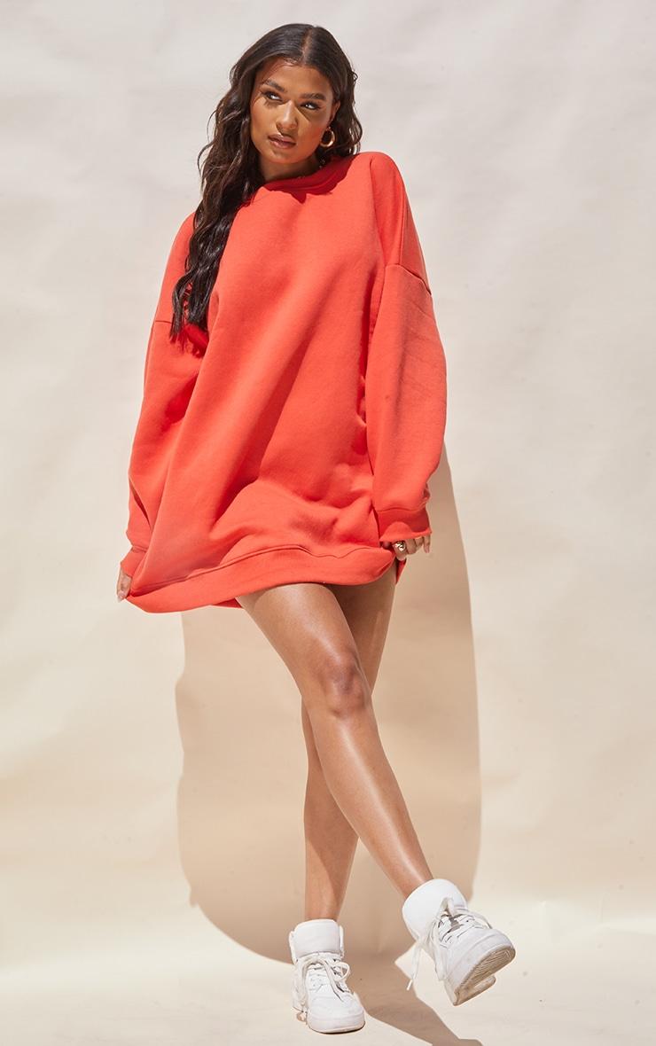 Washed Red Drop Shoulder Oversized Sweat Jumper Dress 1