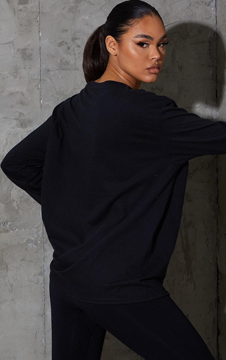 PRETTYLITTLETHING Black Long Sleeve Oversized Sports Top 2