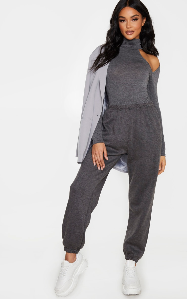 Charcoal Grey Jersey High Neck Cut Out Bodysuit 5