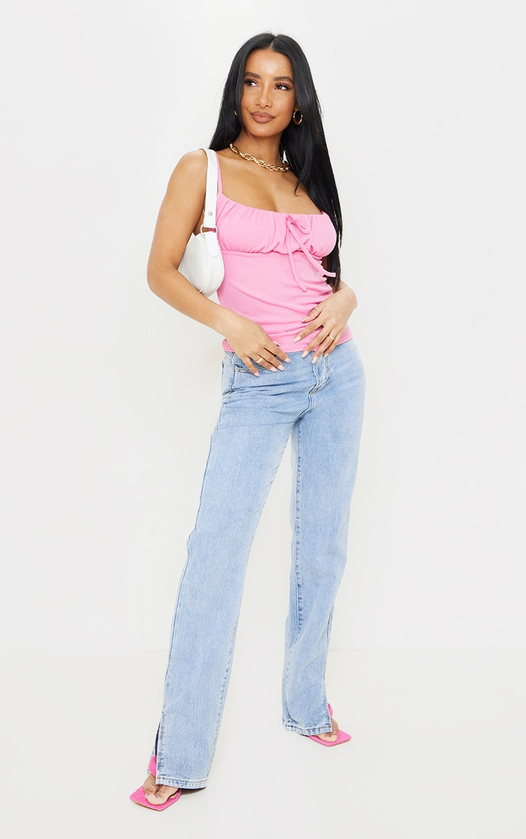 Candy Pink Waffle Ruched Bust Cami Top 3