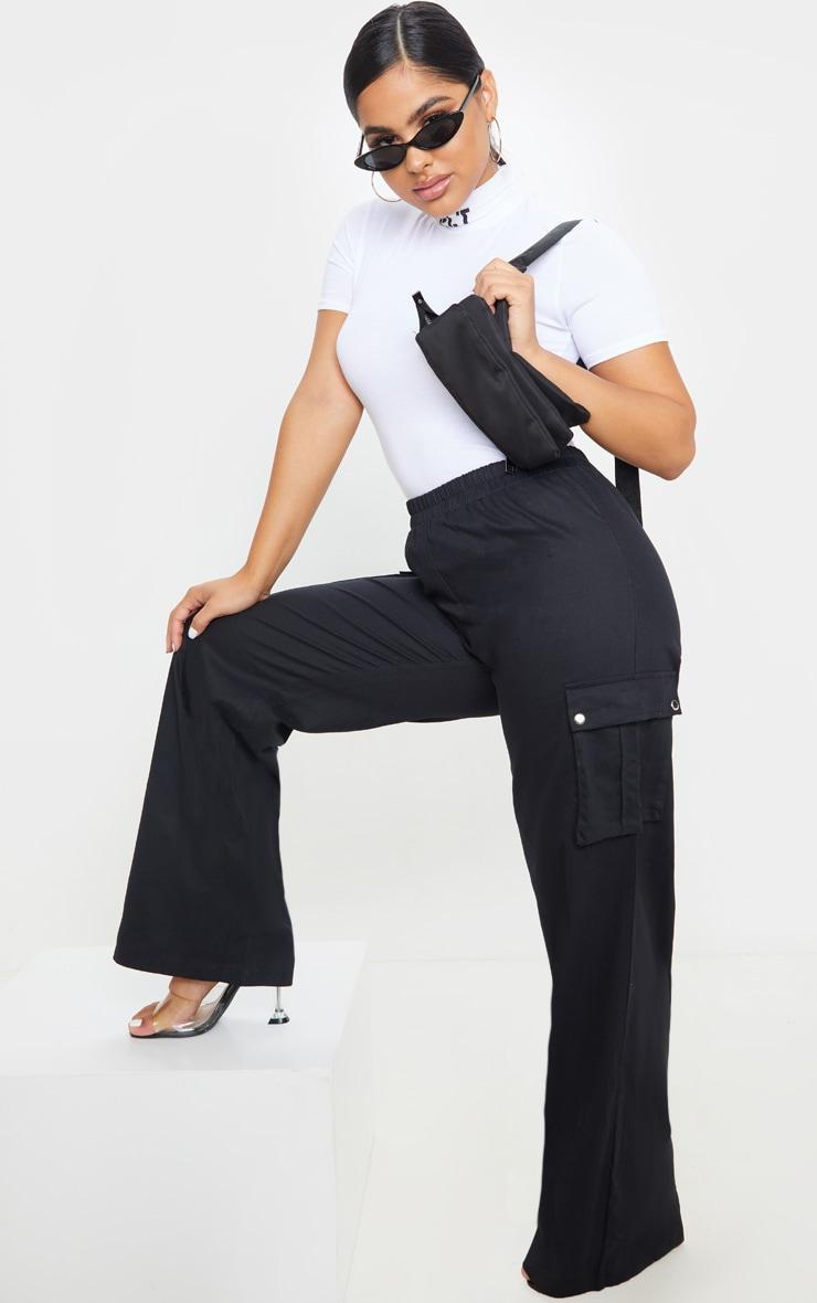 Petite Black Wide Leg Cargo Pants 1