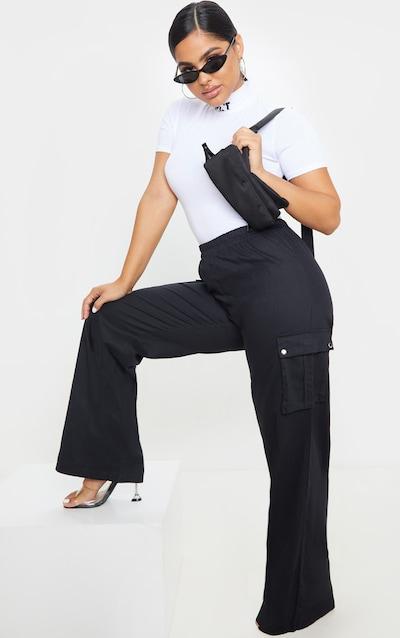 Petite Black Wide Leg Cargo Trouser
