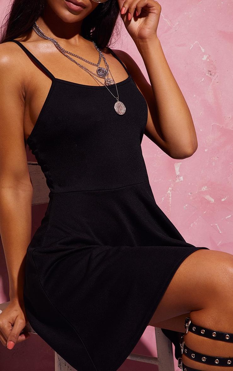 Basic Black Strappy Skater Dress 5