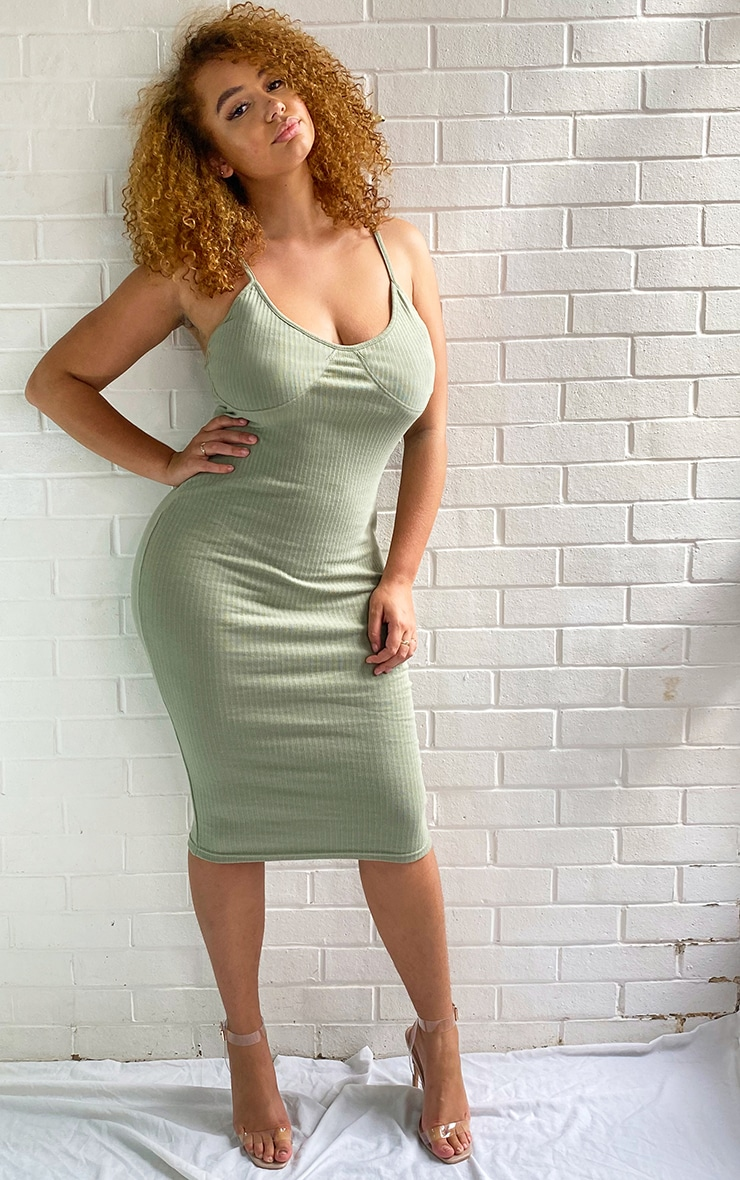 Plus Sage Green Thick Rib Cup Detail Strappy Midi Dress 1