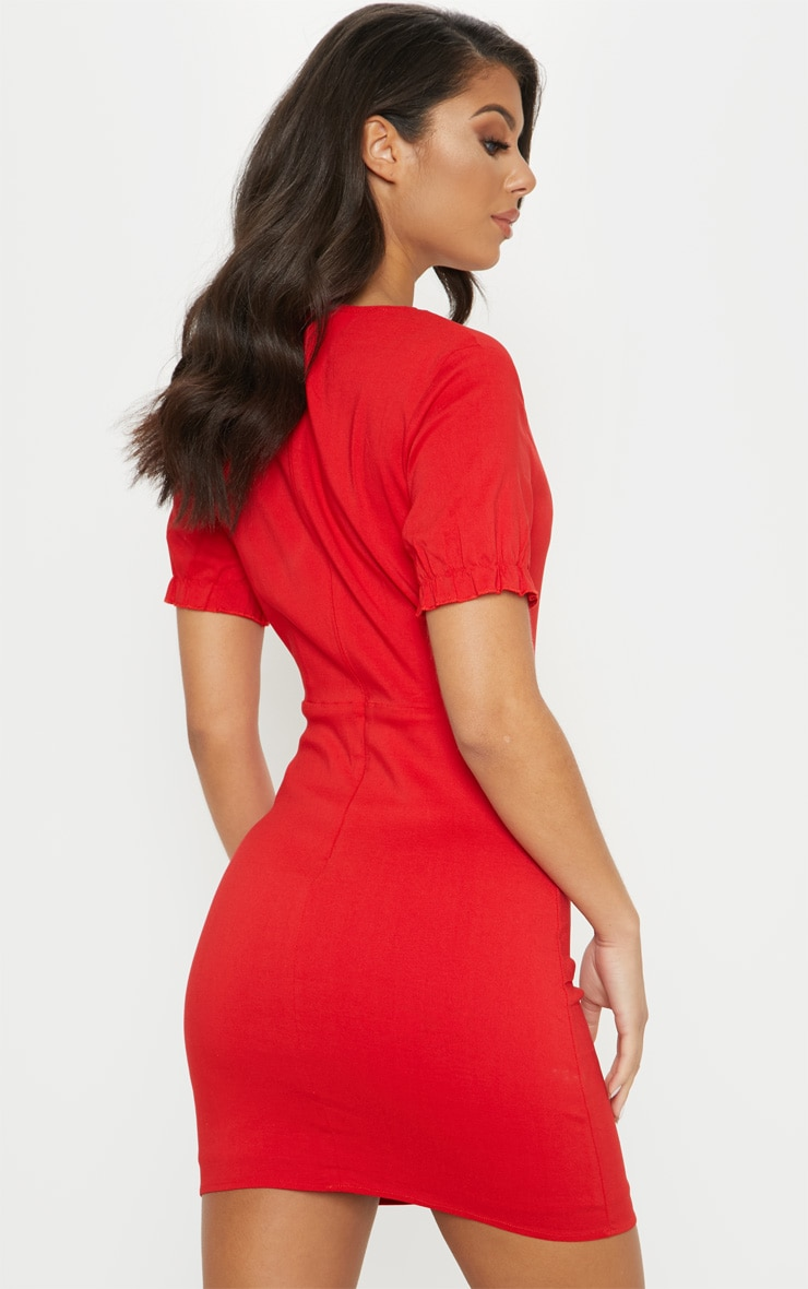 Red Lace Up Frill Detail Bodycon Dress 2