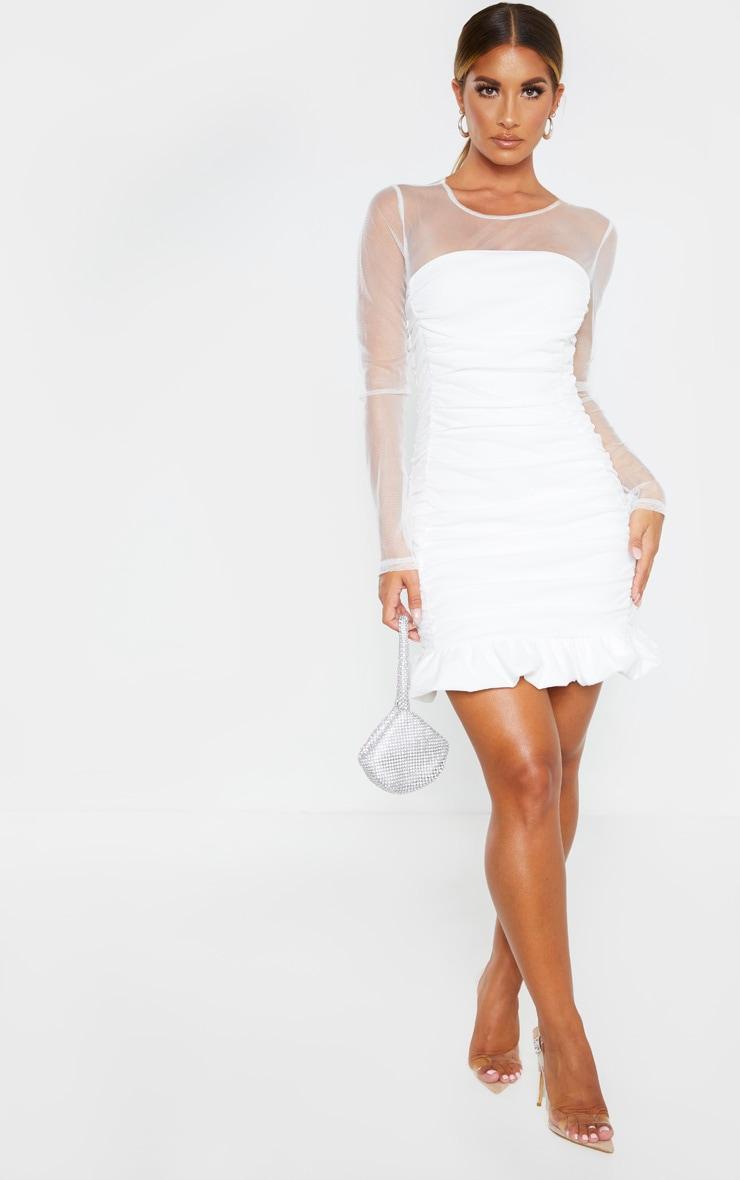White Mesh Insert Ruched Frill Hem Bodycon Dress 1