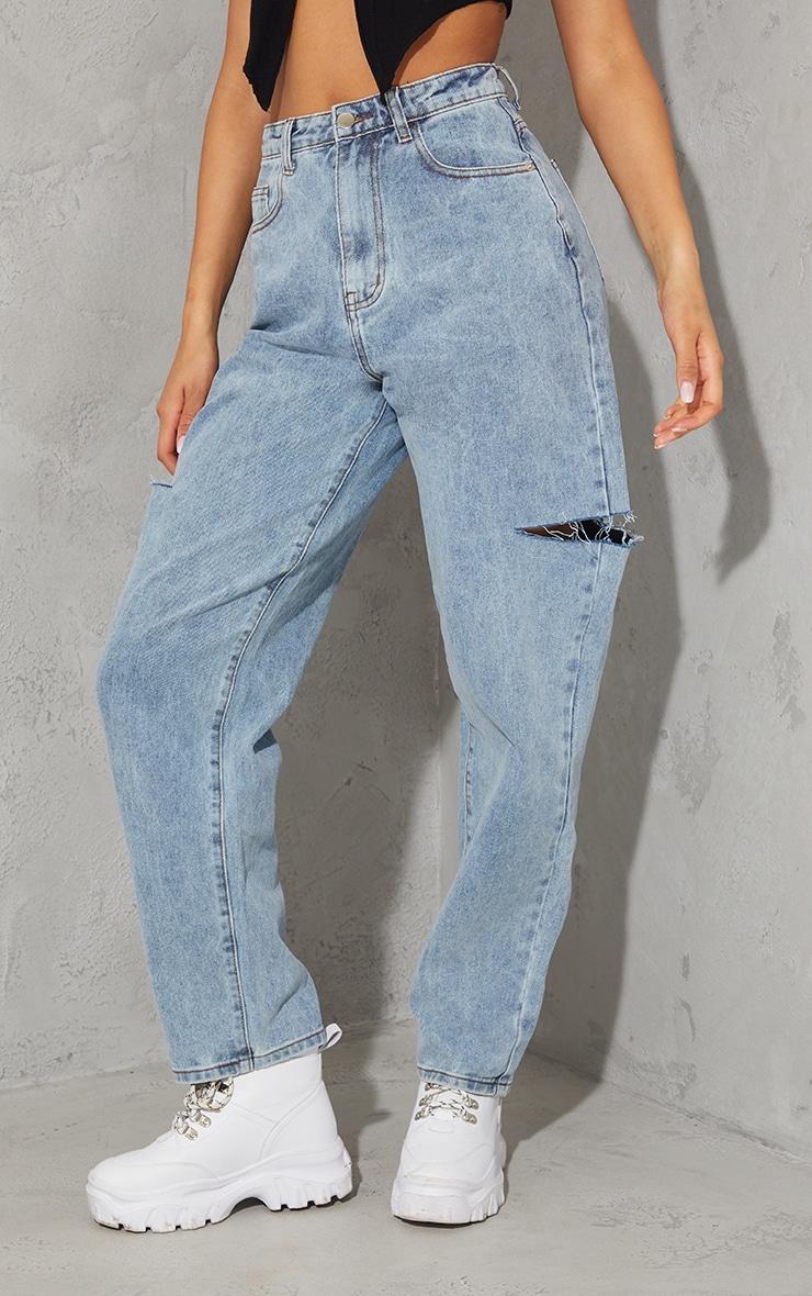 Grey Sand Wash Thigh Split Baggy Boyfriend Jeans 2