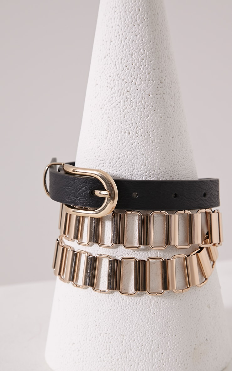 Faya Black Chain Link Skinny Belt 1