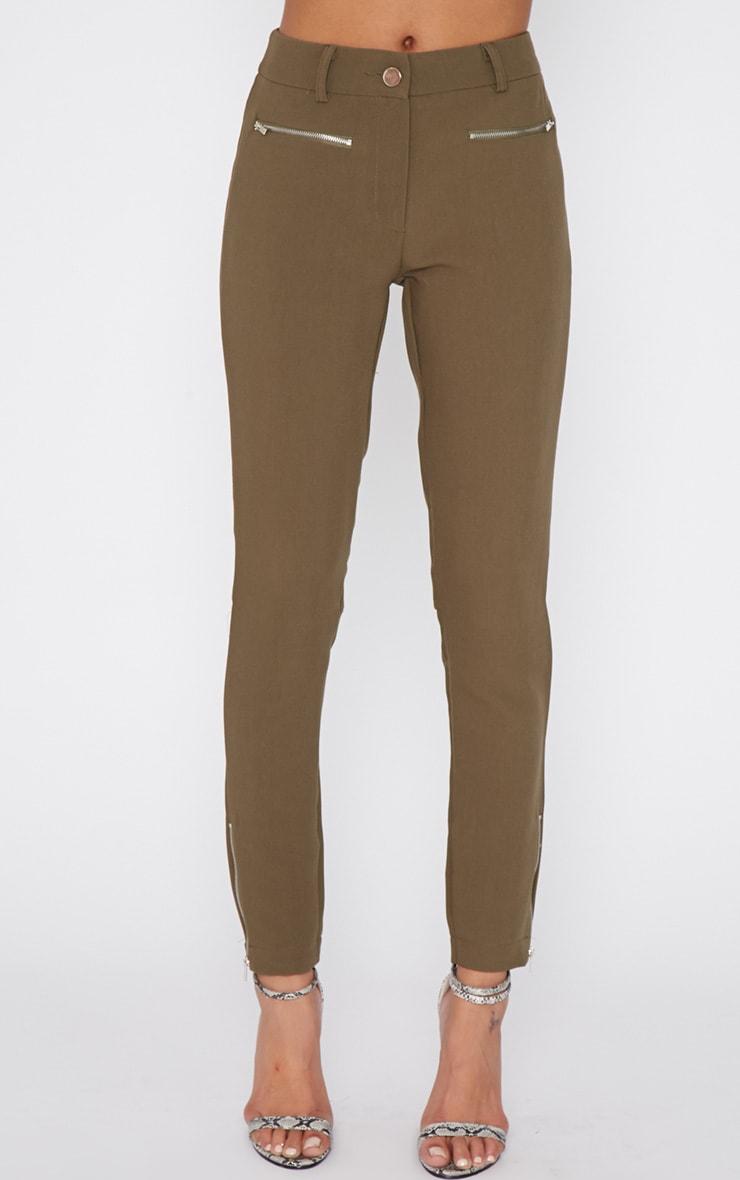 Larisa Khaki Zip Cigarette Trouser  2