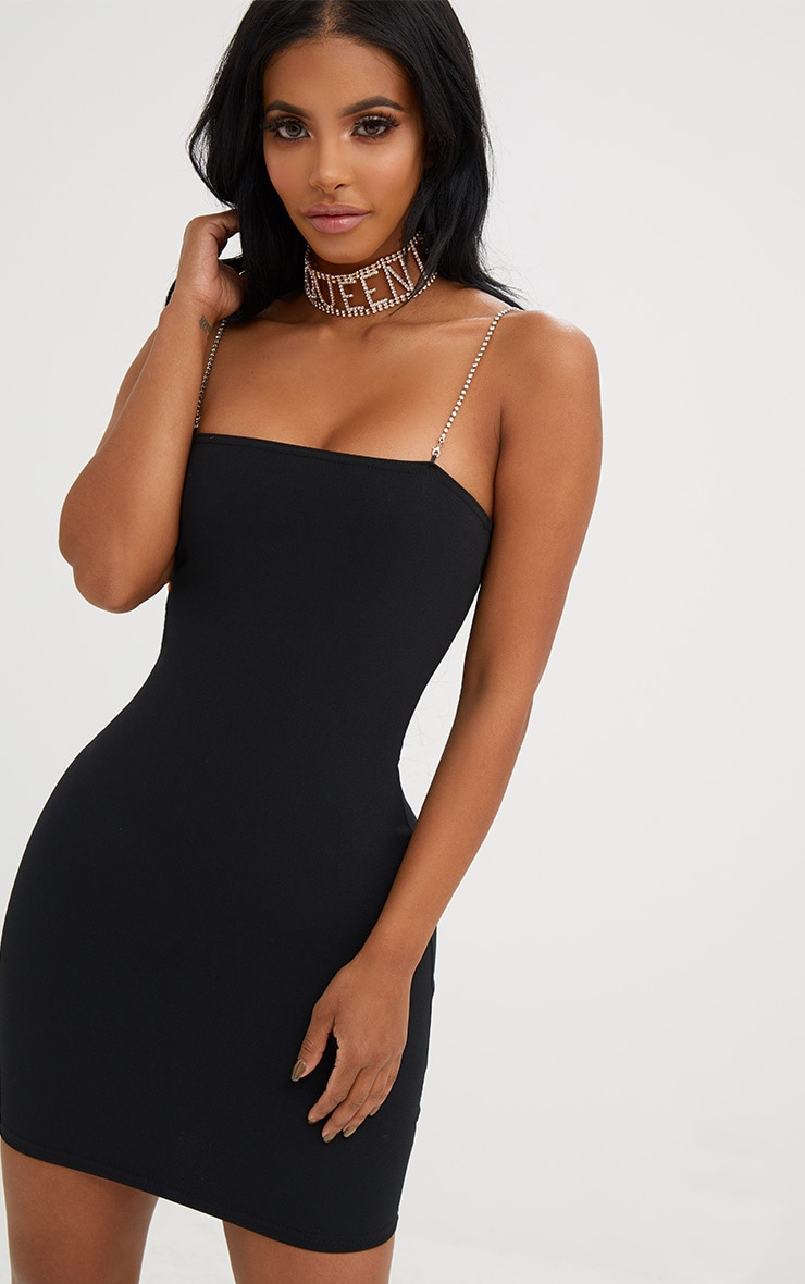 265e204d9095 Shape Black Diamante Strap Bodycon Dress   PrettyLittleThing USA