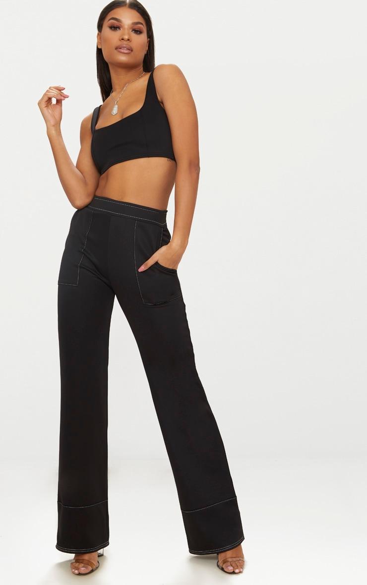 Black Contrast Stitch Trousers 1