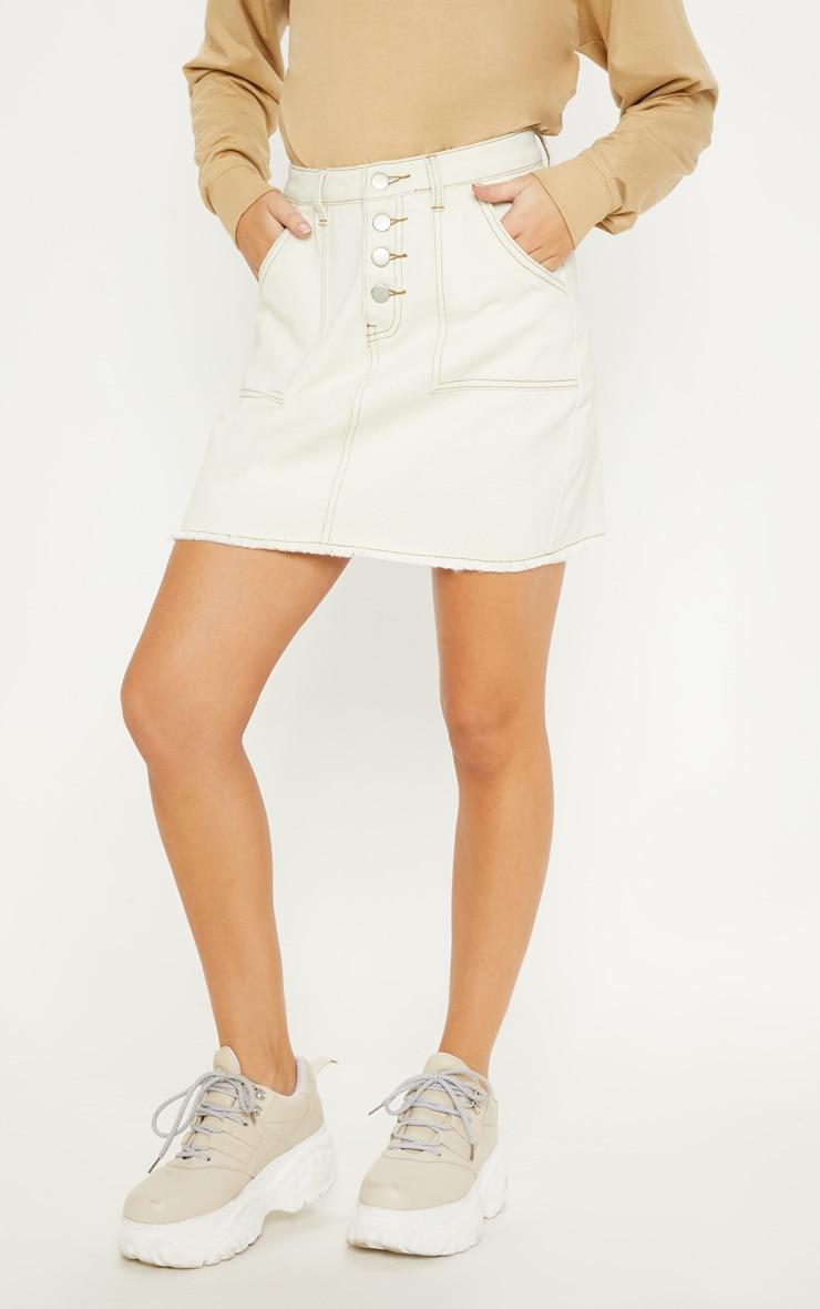 Sand Button Front Contrast Stitch Denim Skirt 2