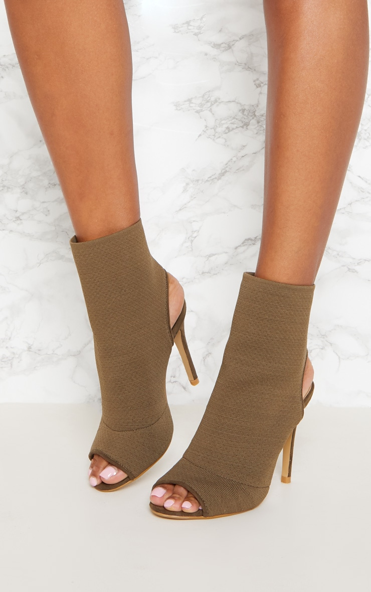 Khaki Knit Peeptoe Shoe Boot 2