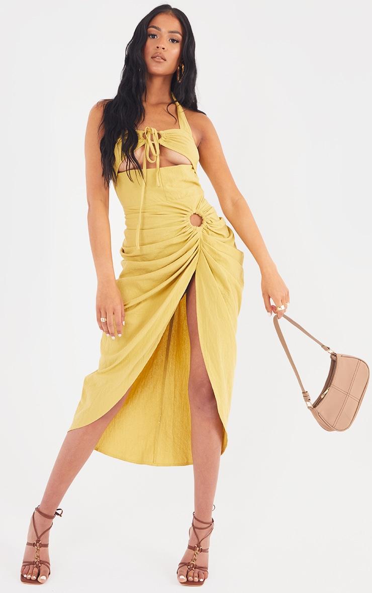Tall  Lime Textured Halterneck Ring Detail Gathered Skirt Midi Dress 1