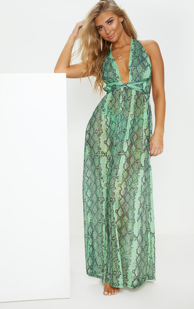 Green Snake Halterneck Maxi Beach Dress 1