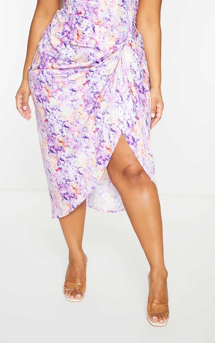 Plus Lilac Ruched Side Midi Skirt 2