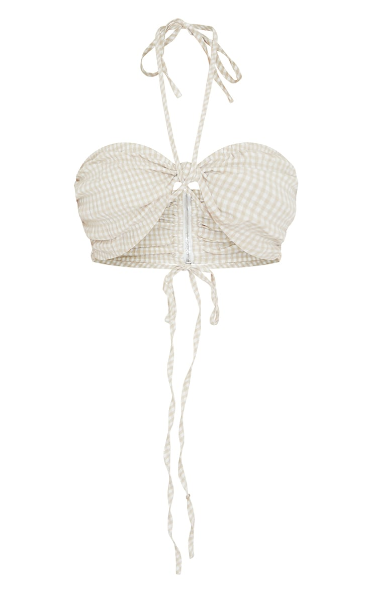 Petite Stone Gingham Ruched Bandeau Top 5