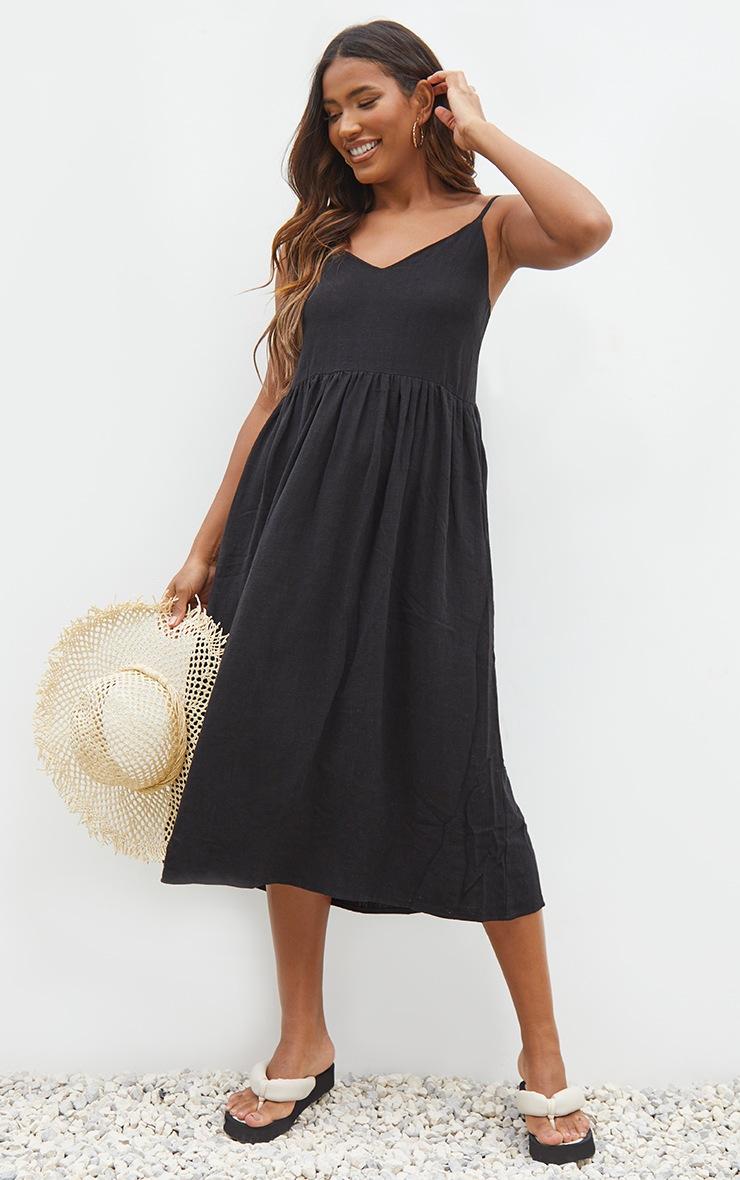 Black Linen Strappy Midaxi Dress 3