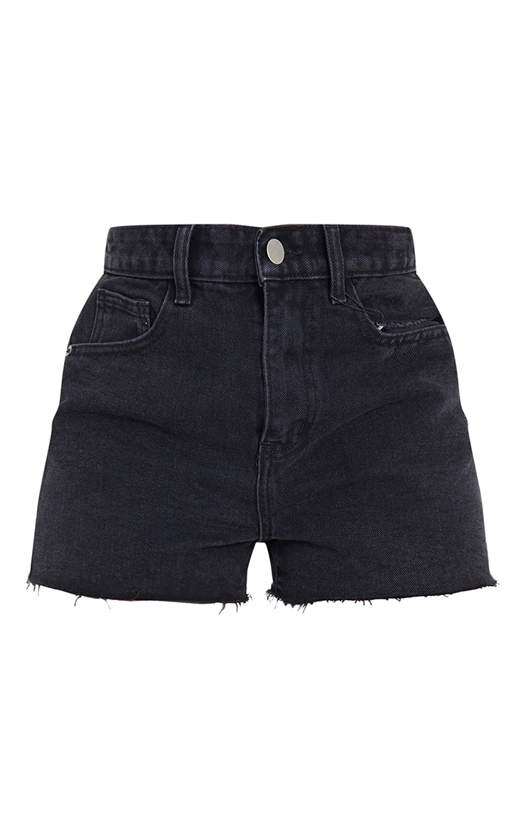 Tall Black Wash Frayed Denim Shorts 6