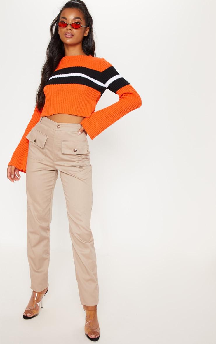 Orange Striped Flared Sleeve Cropped Jumper  1