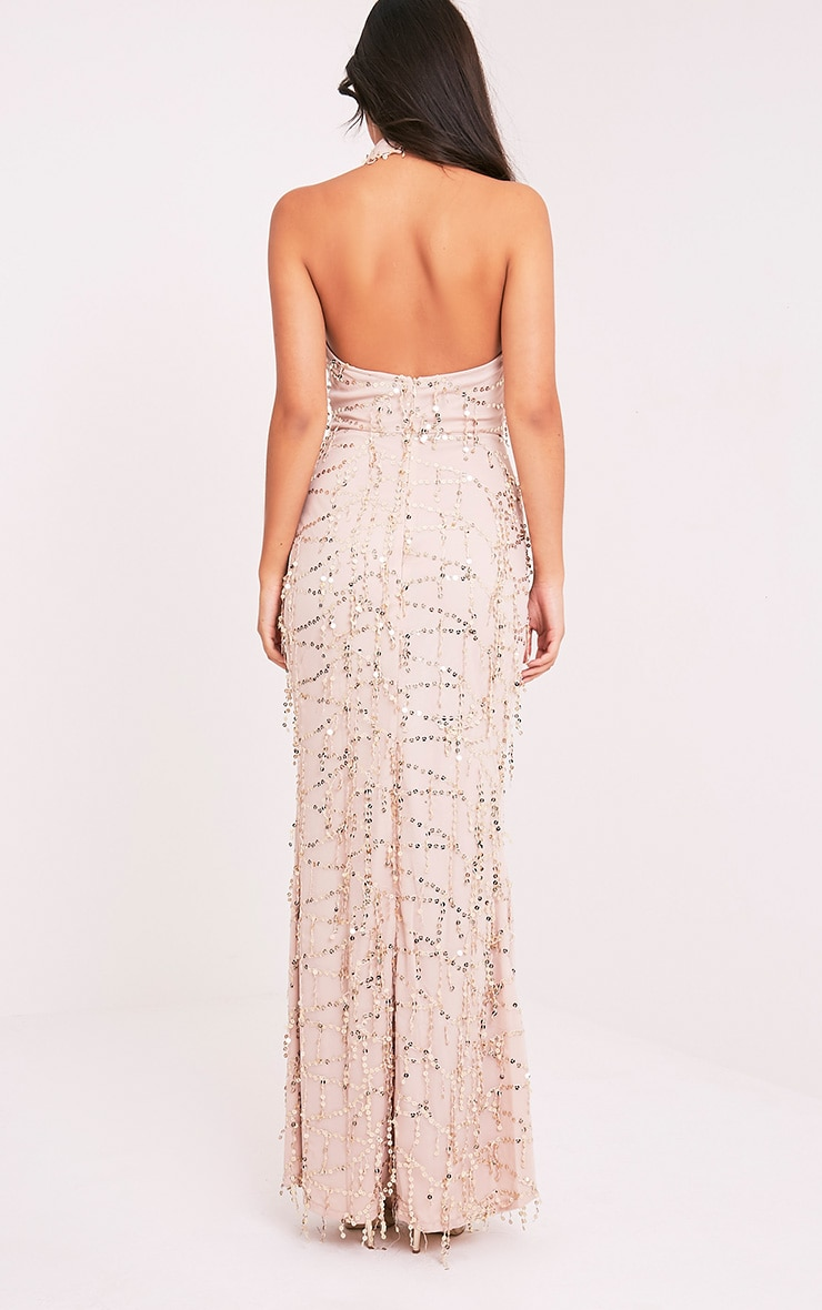 Maya Nude Sequin Fishtail Maxi Dress 2