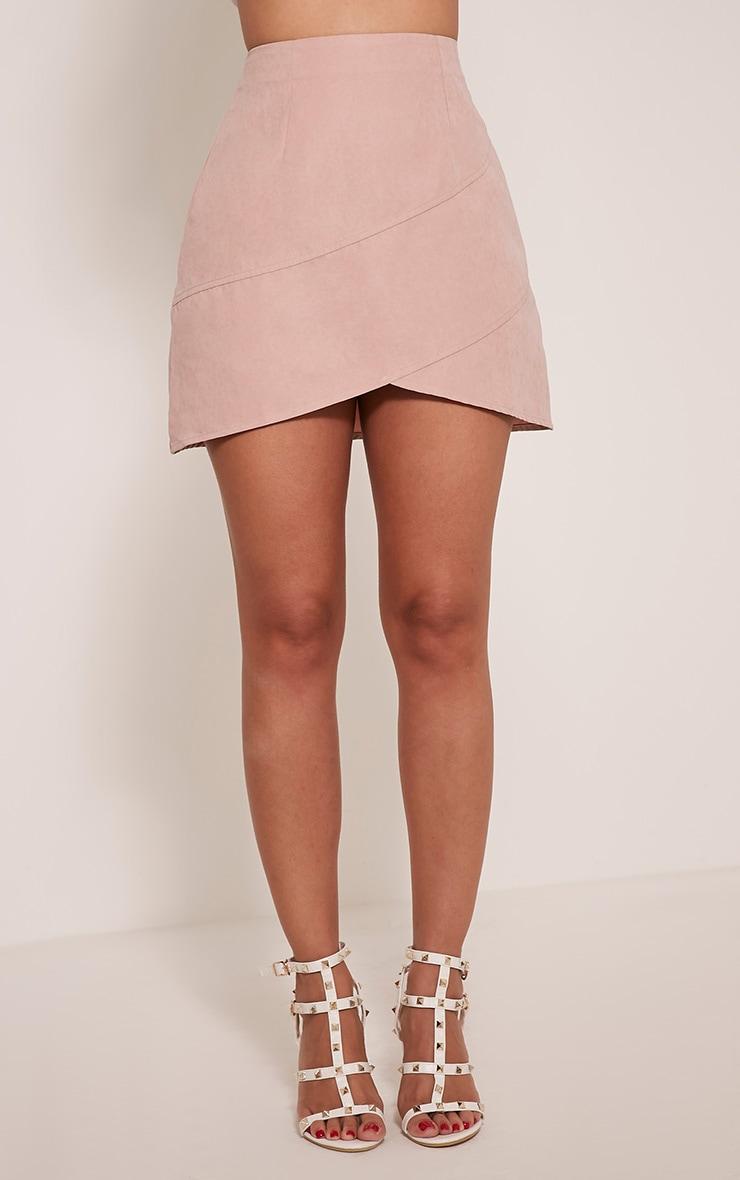 Bexley Blush Wrap Hem Faux Suede Mini Skirt 2
