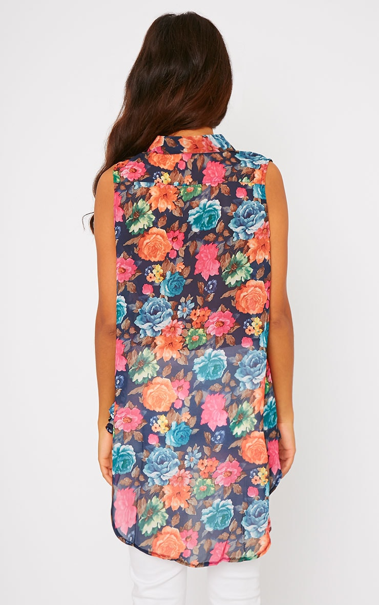 Olivia Navy Floral Print Sleeveless Shirt 2