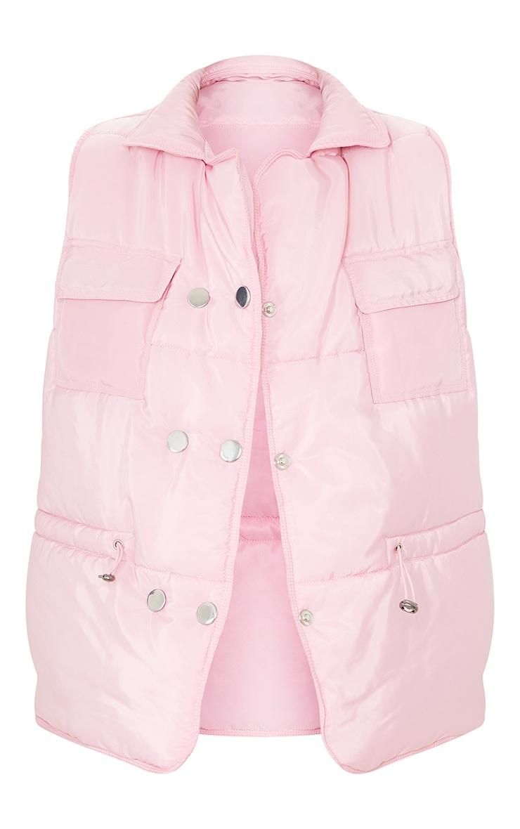 Baby Pink Panel Padded Toggle Waist Gilet 5