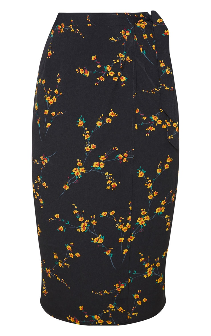Black Floral Print Wrap Around Midi Skirt 3