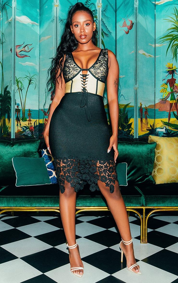 Black Bandage Crochet Lace Up Midi Dress  1