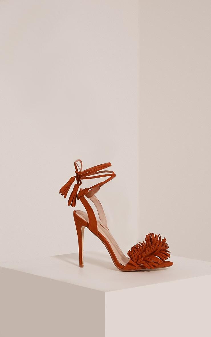 Kasi Orange Fringe Detail Heeled Sandals 4